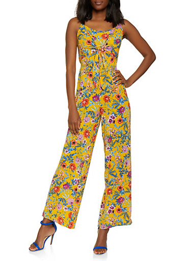 Cut Out Back Floral Palazzo Jumpsuit,MUSTARD,large