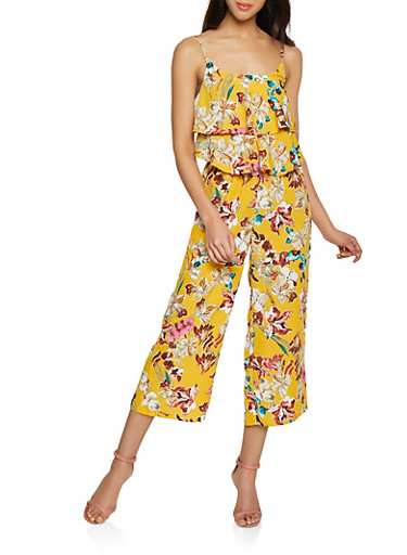 Tiered Floral Palazzo Jumpsuit,MUSTARD,large