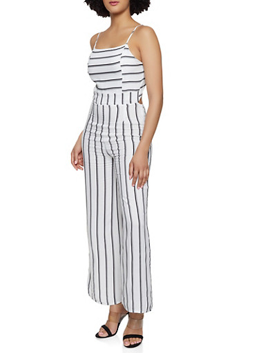 Striped Tie Back Jumpsuit,IVORY,large