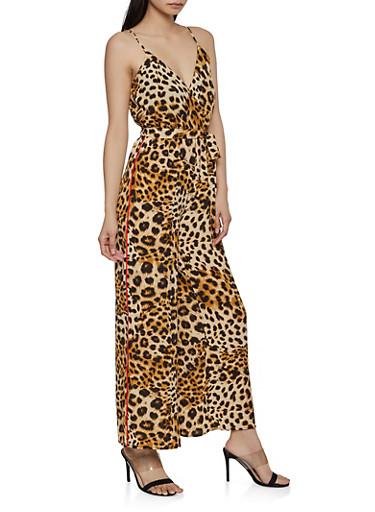 Cheetah Faux Wrap Palazzo Jumpsuit,BROWN,large