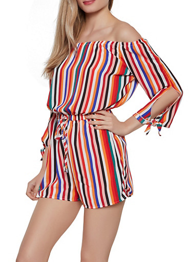Striped Off the Shoulder Tie Sleeve Romper,MULTI COLOR,large