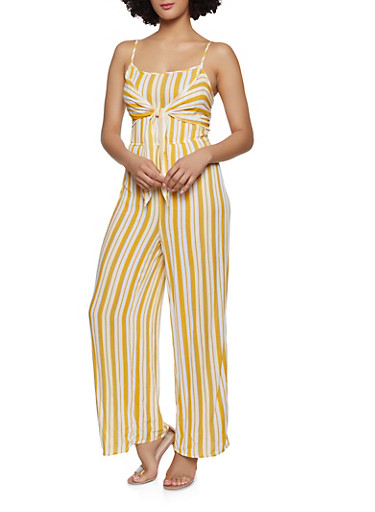 Striped Keyhole Back Jumpsuit,MUSTARD,large