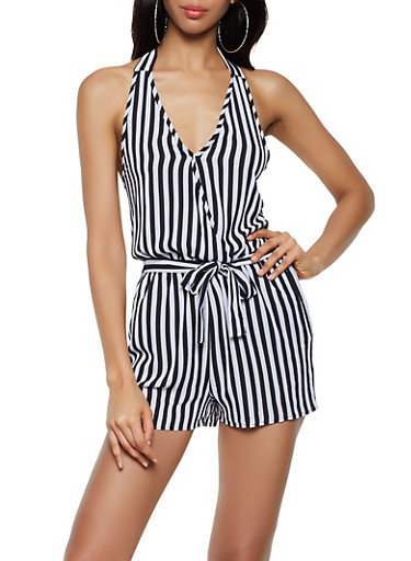 Crepe Knit Striped Halter Romper,BLACK/WHITE,large