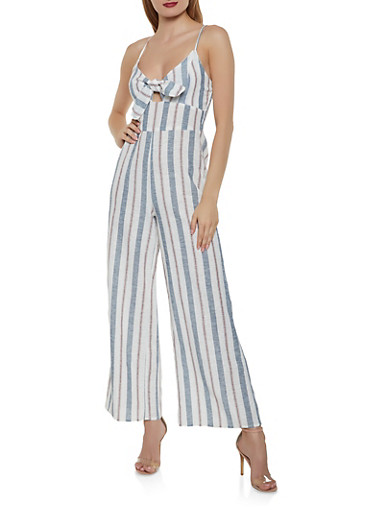 Striped Bow Palazzo Jumpsuit,IVORY,large