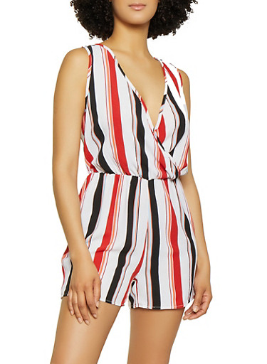 Striped Faux Wrap Sleeveless Romper,WHITE,large