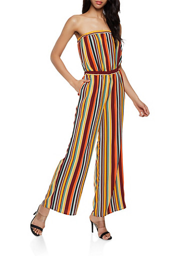 Striped Crepe Knit Strapless Jumpsuit,RUST,large