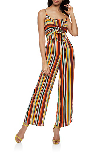 Crepe Striped Tie Front Jumpsuit,RUST,large