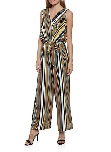 Striped Tie Back Jumpsuit,MUSTARD,large