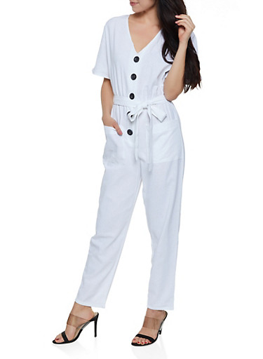 Half Button Linen Jumpsuit,WHITE,large