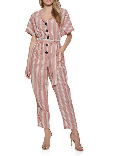 Striped Button Front Linen Jumpsuit,RED,large