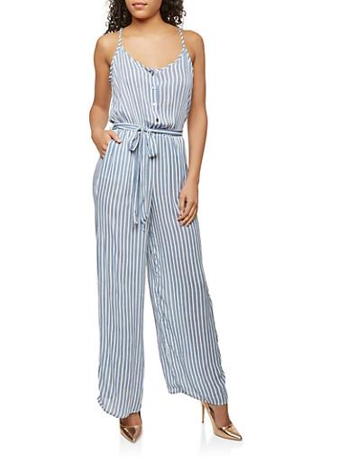Gauze Knit  Printed Jumpsuit,WHITE/BLUE,large