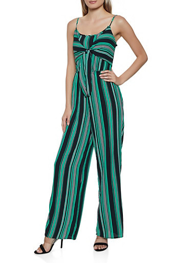 Striped Keyhole Back Tie Front Jumpsuit,KELLY GREEN,large