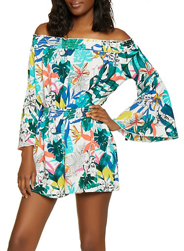 Tropical Print Off the Shoulder Romper,WHITE,large