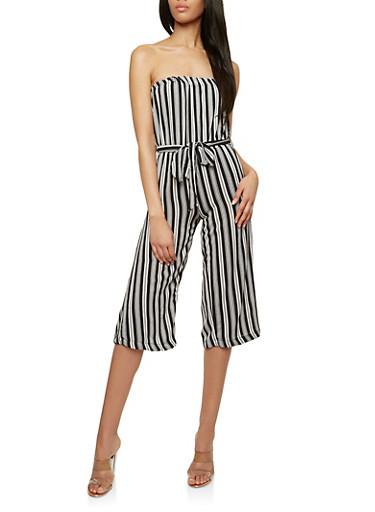 Striped Off the Shoulder Wide Leg Jumpsuit,BLACK/WHITE,large