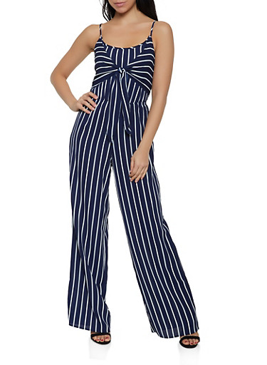 Smocked Striped Tie Front Jumpsuit,NAVY,large