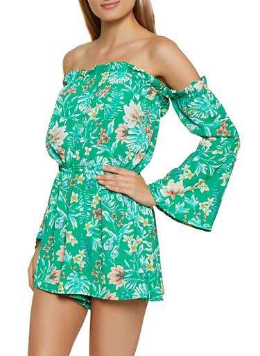 Floral Off the Shoulder Crepe Knit Romper,KELLY GREEN,large