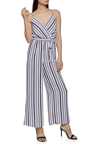 Striped Faux Wrap Palazzo Jumpsuit,BLACK/WHITE,large
