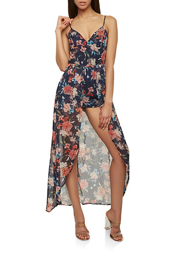 Printed Maxi Romper,NAVY,large