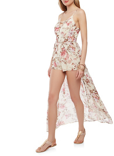 Printed Caged Maxi Romper,IVORY,large