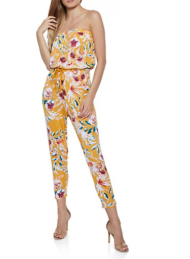Printed Tube Jumpsuit | 0045051065292,MUSTARD,large