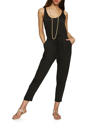 Solid Sleeveless Jumpsuit,BLACK,large