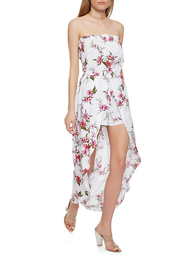 Strapless Floral Maxi Romper,WHITE,large