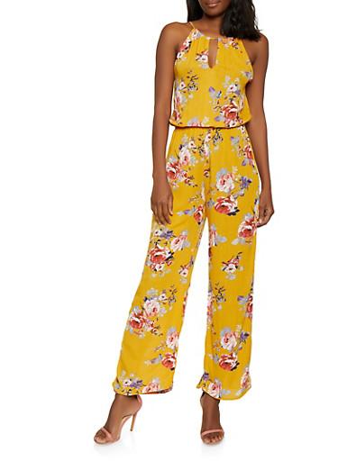 Floral Keyhole Cami Jumpsuit,MUSTARD,large