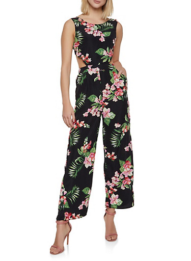 Cut Out Tie Back Floral Jumpsuit,BLACK,large
