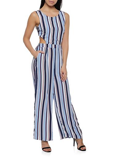 Striped Tie Back Wide Leg Jumpsuit,BLUE,large