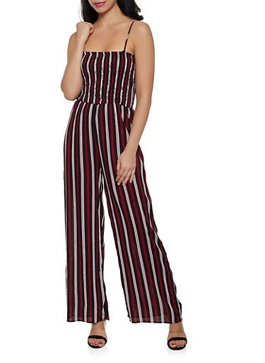Striped Smocked Jumpsuit,BLACK,large
