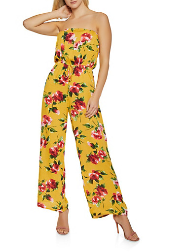 Floral Tube Jumpsuit | 0045054261850,MUSTARD,large