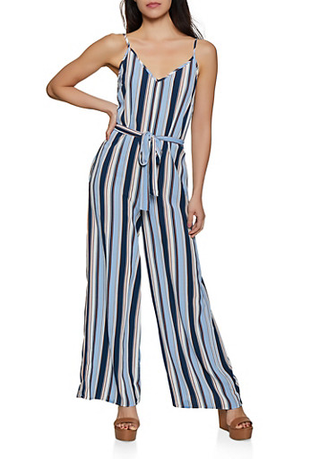 Striped Cami Palazzo Jumpsuit,BLUE,large