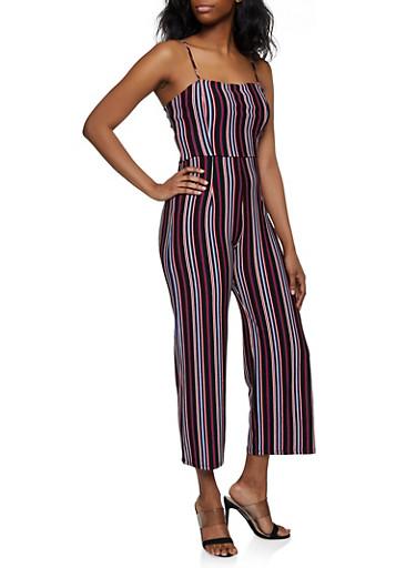Striped Knit Cami Jumpsuit,BLACK,large