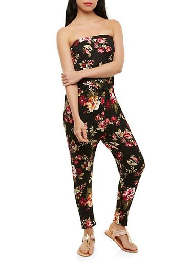 Floral Strapless Jumpsuit | Tuggl