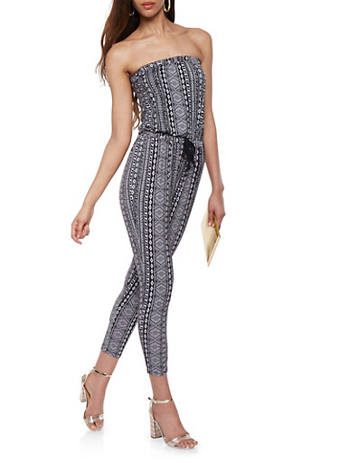 Printed Strapless Jumpsuit,BLACK/WHITE,large