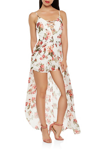 Floral Maxi Romper,IVORY,large