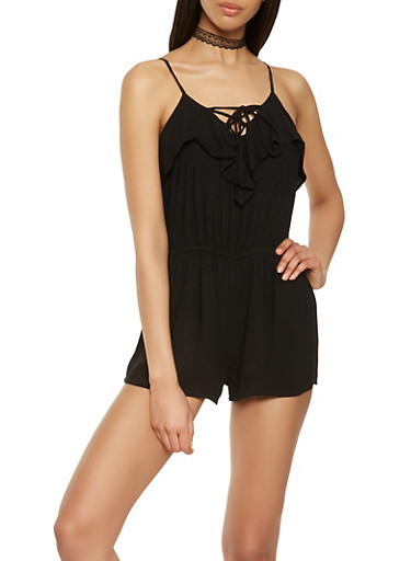 Ruffled Lace Up Romper,BLACK,large