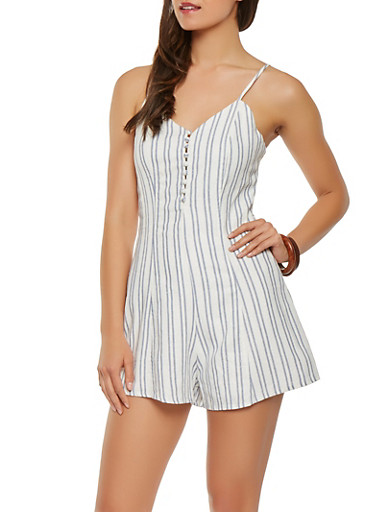 Striped Button Front Romper,NAVY,large