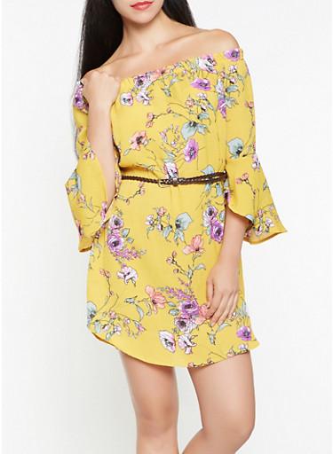 Belted Floral Off the Shoulder Dress,MUSTARD,large
