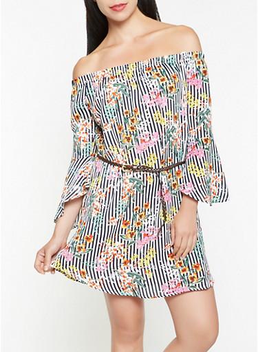 Striped Floral Off the Shoulder Dress,NAVY,large