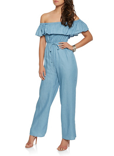 Ruffled Off the Shoulder Denim Jumpsuit,BLUE,large