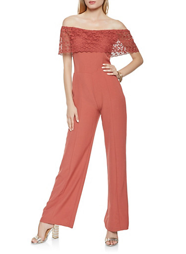 Crochet Overlay Off the Shoulder Jumpsuit,MAUVE,large