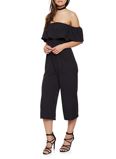 Ruffled Off the Shoulder Gaucho Jumpsuit,BLACK,large