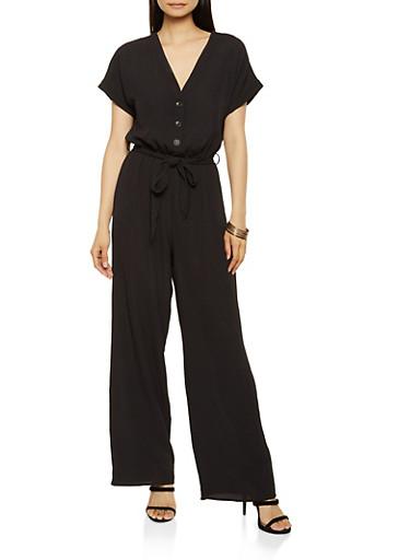 Button Front Wide Leg Jumpsuit,BLACK,large