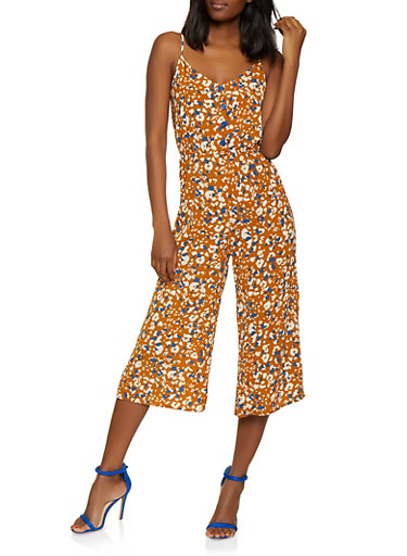Printed Crepe Knit Cropped Palazzo Jumpsuit,GOLD,large