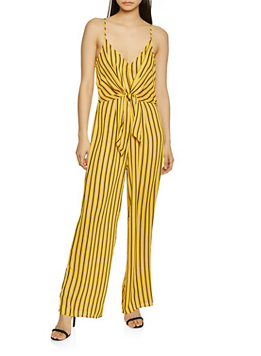 Tie Front Striped Palazzo Jumpsuit,MUSTARD,large