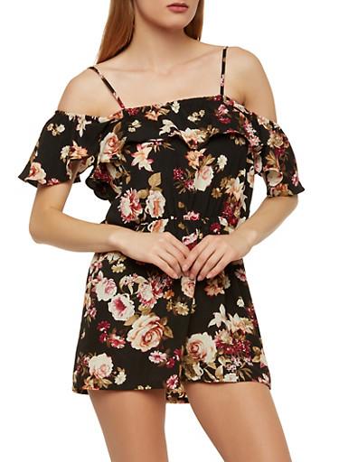 Off the Shoulder Floral Romper,BLACK,large
