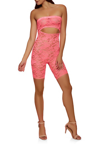 Lace Cut Out Tube Romper,NEON PINK,large