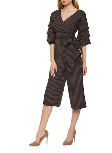 Faux Wrap Striped Gaucho Jumpsuit,BLACK/WHITE,large
