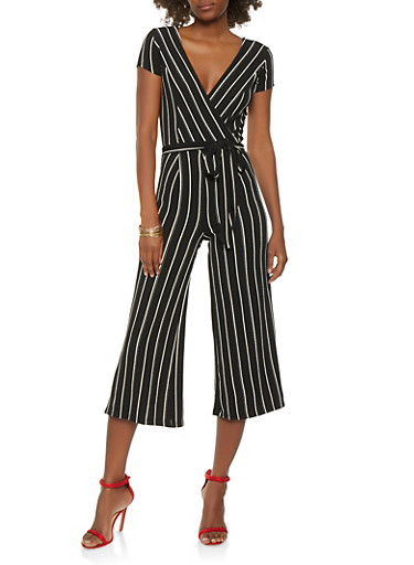 Striped Wide Leg Jumpsuit,WHT-BLK,large